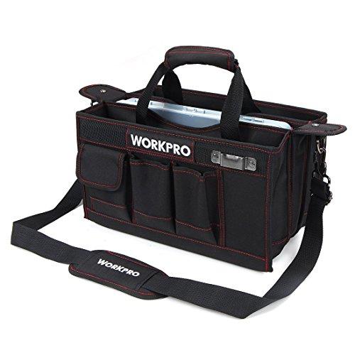 WORKPRO ツールキャリーバッグ375mm 収納ケース付き ハンディタイプ ワイドオープン