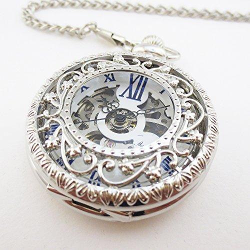 『手巻き式 懐中時計 フックチェーン + ボールチェーン/ 革紐 + 化粧箱 セット (シルバー)』の3枚目の画像