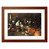 Skutecky, Dominik,1849-1921 「Noon in the boiler shop.」 額装アート作品