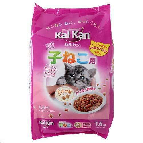 お買得セット カルカン ドライ 12か月までの子ねこ用 かつおと野菜味ミルク粒入り 1.6kg(小分けパック4袋入) 3袋