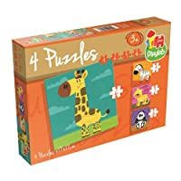 Playlab - 4 in 1 Puzzle - Wilde Tiere: 4/6/9/16 Teile