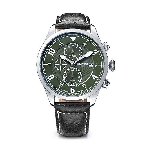 Time100 腕時計 メンズ 多機能 レーシング ストップウォッチ 日付 夜光インデックス W80092G (グリーン)