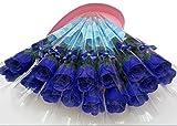 SSORA 造花 バラ 花束 ブルー イミテーションフラワー 石鹸花 インテリア 50本セット