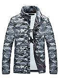 メンズ ダウンジャケット ライトコート 迷彩 超軽量 アウトドア 登山防風防寒コート Glestore(グラストア)白XXL