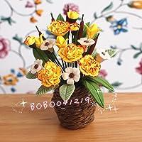 bobominiworldハンドメイド花ドールハウスミニチュア装飾1 : 12スケール高さ5.5 CMイエロー