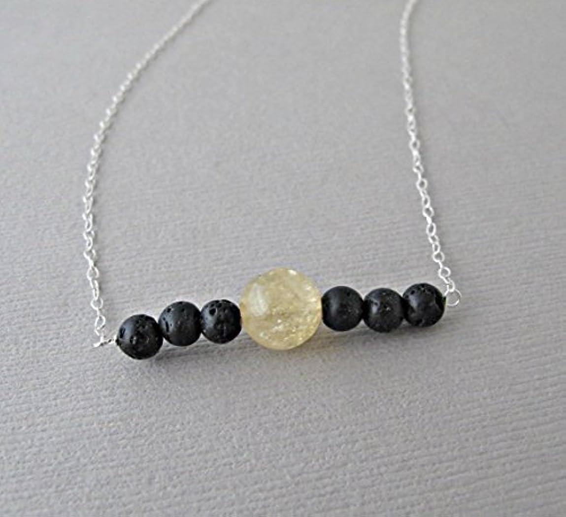 クライストチャーチマイク受賞Citrine Lava Pendant Essential Oil Necklace Diffuser Aromatherapy - Simple Minimalist Lava Bead Diffuser Necklace...