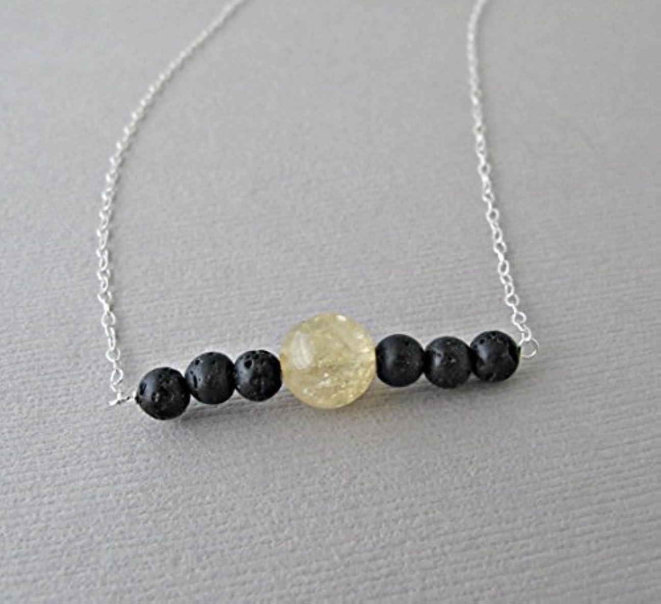 鋼間違い運動Citrine Lava Pendant Essential Oil Necklace Diffuser Aromatherapy - Simple Minimalist Lava Bead Diffuser Necklace...