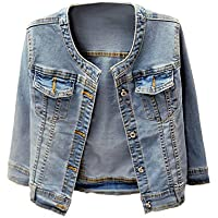 Denim Jackets Trendy XU Washed Three Quarter Sleeve Stretch Collarless Short Jeans Coat
