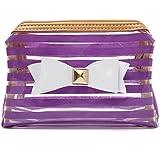 YZUEYT ストライプ透明な化粧品のバッグ旅行PVCボウタイはオーガナイザーケースを作る YZUEYT (Color : Color Purple Hippo)