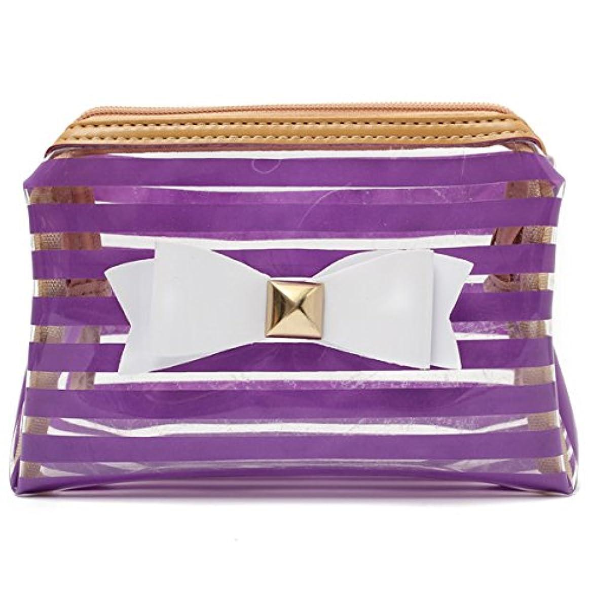 パプアニューギニア百書士YZUEYT ストライプ透明な化粧品のバッグ旅行PVCボウタイはオーガナイザーケースを作る YZUEYT (Color : Color Purple Hippo)