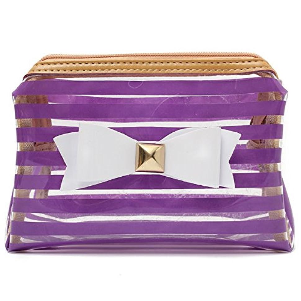 火山変成器イルYZUEYT ストライプ透明な化粧品のバッグ旅行PVCボウタイはオーガナイザーケースを作る YZUEYT (Color : Color Purple Hippo)