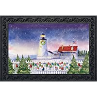 Christmas Lighthouse Doormat Nautical Indoor Outdoor 18 x 30 [並行輸入品]