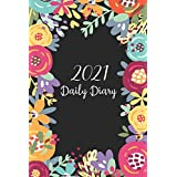 Daily Diary 2021 One Page Per Day: Watercolor Flower Cover, Daily Journal 2021 One Page Per Day, 12 Month Diary Planner Calen