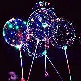 LEDライトアップ ボボバルーン 8個パック 点滅ハンドル 20インチ バブルボボバルーン 70cm スティック クリスマス 誕生日パーティー デコレーション