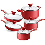 SHINEURI 10 Pieces Nonstick Pots and Pans Set with Glass Lid Ceramic Cookware Set for Induction, Electric, and Ceramic Glass,