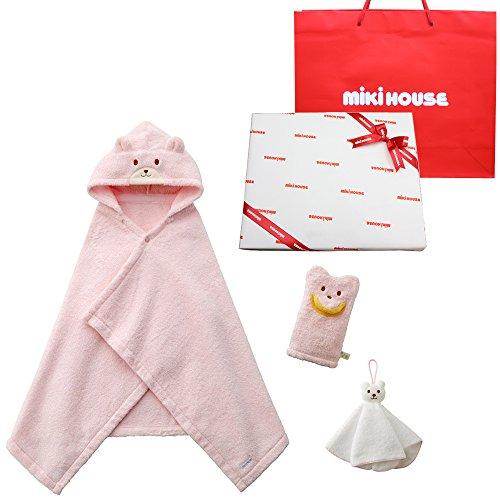 ミキハウスファースト(MIKIHOUSE) ベビーバスポンチョ 出産お祝セット (新生児から2歳くらいまで, ピンク(...