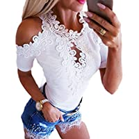 Women Slim Fit Short Sleeve Lace Cold Shoulder Summer Tops Blouses