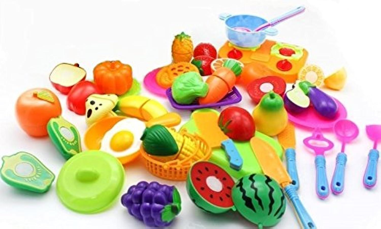 (アウトレット) おままごと ざくざく お料理  やさいと果物 & キッチン用品 たっぷり38個セット プラスチック製 バスケット付き 知育玩具
