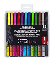 Zebra Zensations Fineliner Pens 12/Pkg 0.8mm