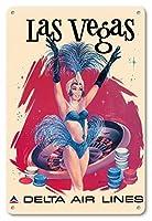 22cm x 30cmヴィンテージハワイアンティンサイン - ラスベガス、アメリカ合衆国 - ラスベガスのショーガール - デルタ航空 - ビンテージな航空会社のポスター によって作成された フレッド・スウェニー c.1960s
