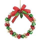 yeesport Front Door Wreath Jingle Bell Decorative Bow Hanging Wreath Window Hanging Wreath