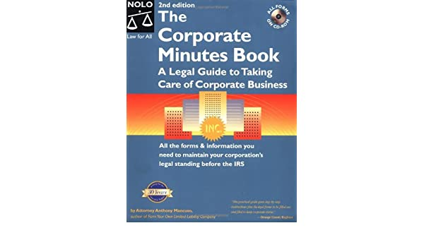 amazon the corporate minutes book the legal guide to taking care