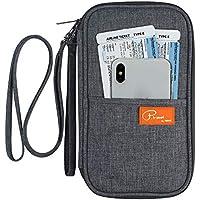 FLYMEI Multifunctional Travel wallet Passport Wallet with Hand Strap Passport Holder Travel Organizer Wallet for Card Money Ticket Mobile - Gray
