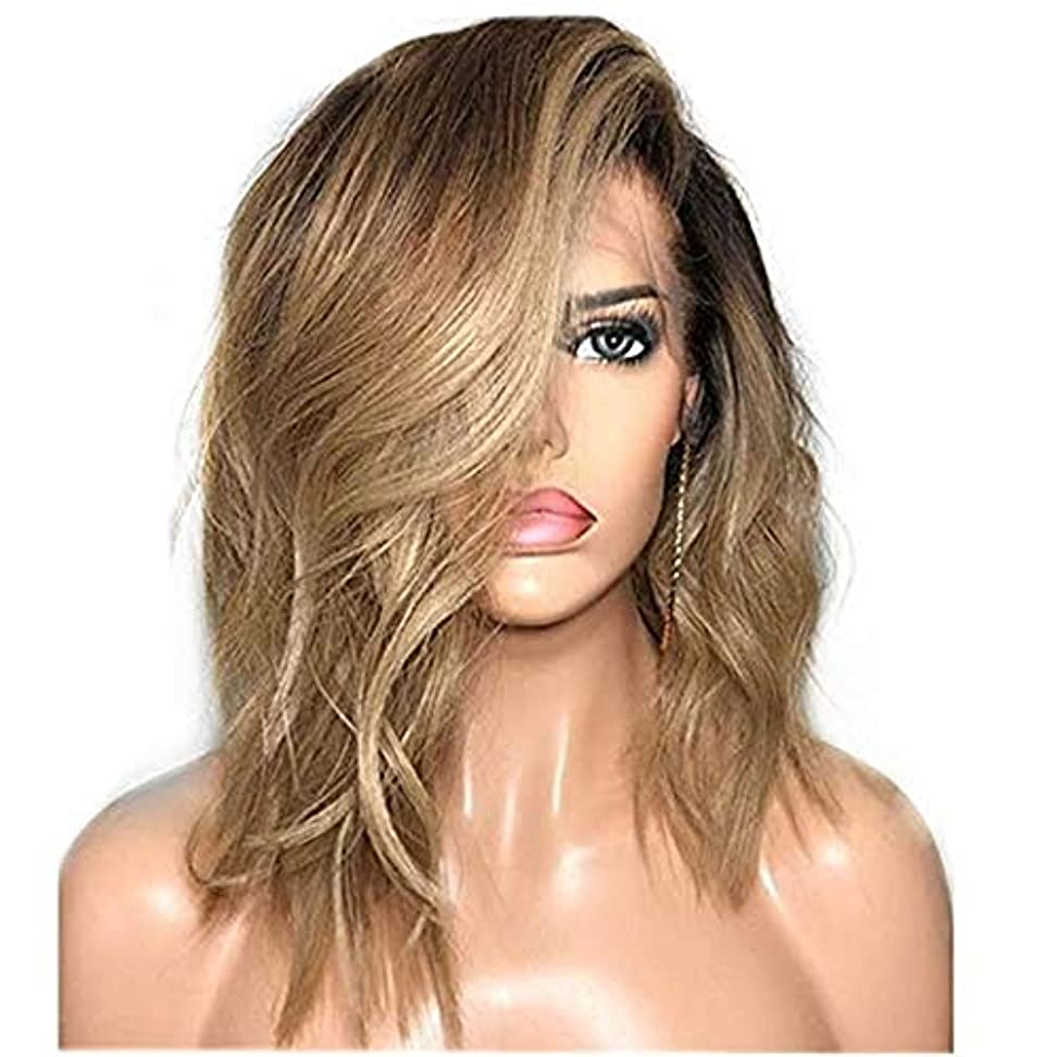 グロー省略するコーナーWASAIO Kinkysカーリー人間ヘアウィッグ長い対角線前髪の長いストレートの髪マイクロボリューム長いレースウィッグ(色:写真の色、サイズ:65センチメートル) (色 : Photo Color, サイズ : 65cm)