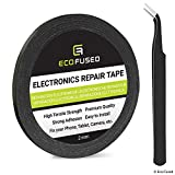 Eco-Fused 粘着テープ 携帯電話修理用 – 2mmテープ – ピンセット1ペア付き – Eco-Fusedマイクロファイバー・クリーニングクロス(黒)