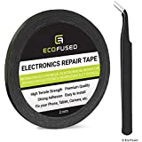 Eco-Fused Adhesive Sticker Tape for Use in Cell Phone Repair - 2Mm Tape - Also Including 1 Pair of Tweezers/Eco-Fused Microfiber Cleaning Cloth 1 Roll - 2mm Width (Black) Black