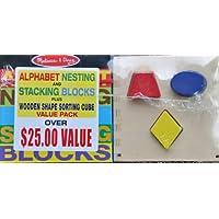 Melissa & Doug値パック – Alphabet Nesting Blocks +木製Shape Sorting Cube