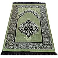 お祈りマット トルコ製 ムスリム礼拝用マット 礼拝用敷物(G) (緑色)