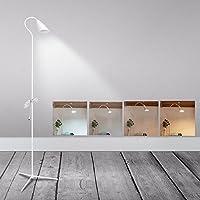 調光機能付きLED床置きランプ読書ライト、クリップオン、ランプwith USB線(4色モード、8Wリビング、部屋、寝室、オフィス、床ライト) S ホワイト