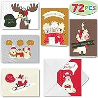 クリスマスグリーティングカード 72枚 動物