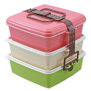 Colors スタック式ピクニックケース角型(大) 3段 ピンク 4004