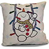 E by design Jump For Joy冬Whimsy Jolly Snowmanアウトドア枕 16L x 16W in. レッド O5PHGN690WH1PK2-16