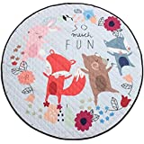 """Baoblaze 150cm / 60"""" Cute Carton Play Mat, Kids Baby Toddler Crawling Blanket, Home Floor Rug, Outdoor Picnic Mat - Foldable Soft Machine Wahsable - Fox and Friend, 150cm or 60inch"""