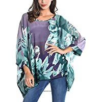 Wiwish Women's Bohemian Style Summer Beach Lagenlook Top Kimono Loose Waterfall Chiffon Kaftan Poncho Shirt
