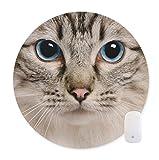 可愛い猫の絵のマウスパッドー滑り止め ラウンド マウスパッド レーザー&光学式マウス対応マウスパット