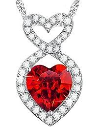 Dorella[ドレラー] 言いたい話 ジュエリー 純銀製  赤い宝石 ハート 1月誕生石 ガーネット  プレゼント ギフト ホワイトデー 誕生日 記念日 パーティー用 BOX付き スワロフスキー エレメンツ