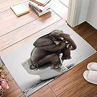 ドアマット屋内屋外入り口の敷物の床のマットの家の歓迎の靴のスクレーパーのドアマット滑り止め(トイレに座っている象) 60x40cm