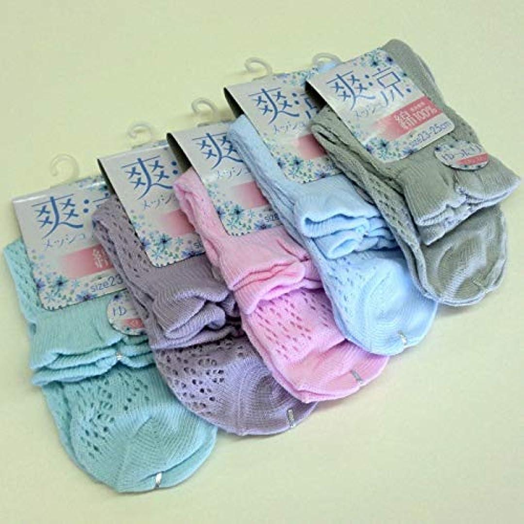 賞賛膜掃く靴下 レディース 夏 表糸綿100% 涼しいルミーソックス セット 5色5足組