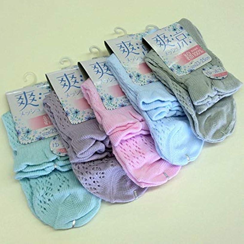 プレートオークションエントリ靴下 レディース 夏 表糸綿100% 涼しいルミーソックス セット 5色5足組