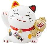 昭峰作 幸せ 招き猫 宝くじ入れ 中 みけ 貯金箱 SN-040