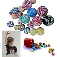 Bouncy Rubberボール25アソート色とサイズのセット – Super Bounce Ball Party Favor 25カウントfor Kid 's誕生日パーティー|バーベキュー|ビーチ|キャンプ – MiniバウンドラバーボールVarietyパック