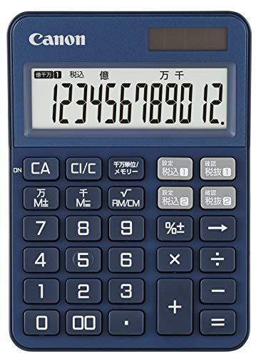キャノン 電卓 12桁 ミニ 卓上サイズ カラフル電卓 2種類 税率設定対応 抗菌 KS-125WUC-BL ブルー