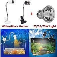 FidgetGear 爬虫類トカゲクモガメ加熱UVA UVBライトホルダー+ホワイト/ブラックホルダー 50W暖房ライト