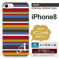 iPhone8 スマホケース ケース アイフォン8 イニシャル ボーダー ブルーブラウン nk-ip8-703ini G