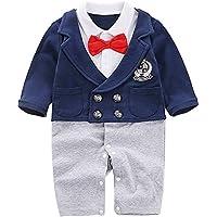 Baby Long Sleeve Newborn Boy's Gentleman Jumpsuit With Bow Tie