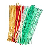 Holiday Twist Tie for Treat Bags, Cello Bags and Party Favors, Metalic Colors Includes Red, Gold, Silver Green and silves with Green Strips.